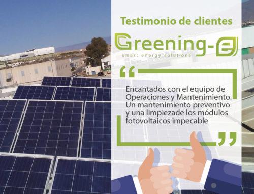 """Testimonios de clientes Greening-e: """"Encantados con el mantenimiento y limpieza de los módulos fotovoltaicos"""""""
