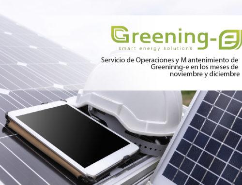Servicio de Operaciones y Mantenimiento de Greeninng-e en los meses de noviembre y diciembre