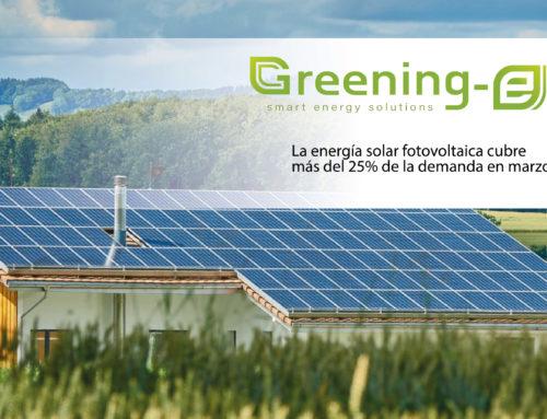 La energía fotovoltaica cubre más del 25% de la demanda en marzo