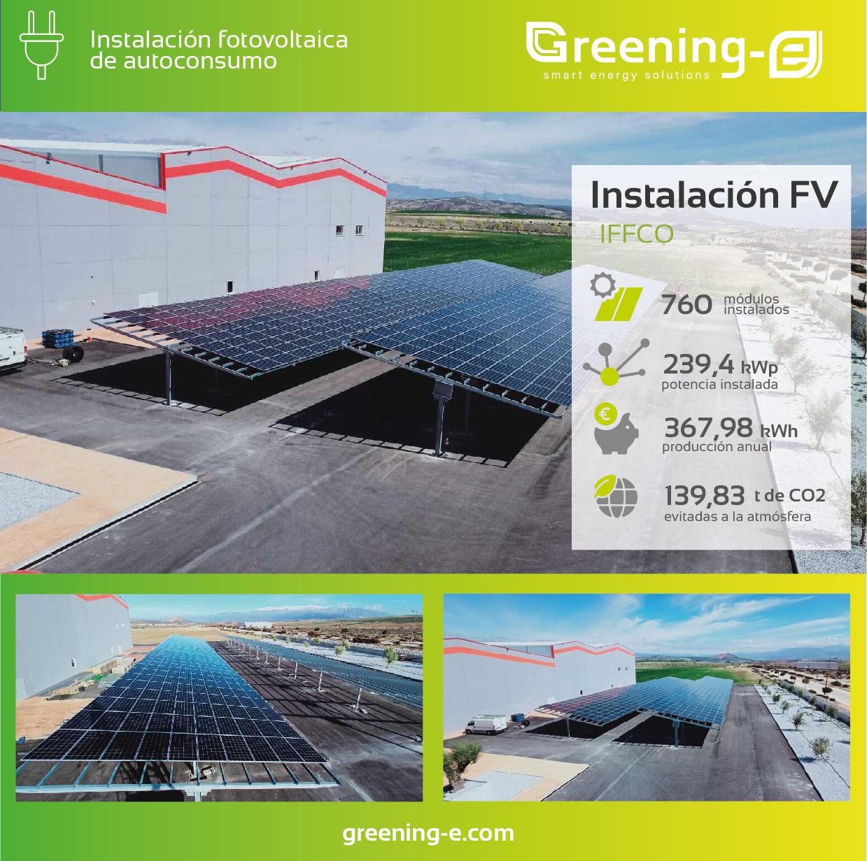 cifras de la instalación fotovoltaica realizada por Greening-e para IFFCO