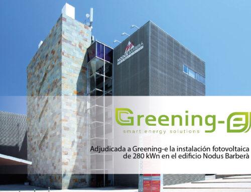 Adjudicada a Greening-e la instalación fotovoltaica de 280 kWn en el edificio Nodus Barberà