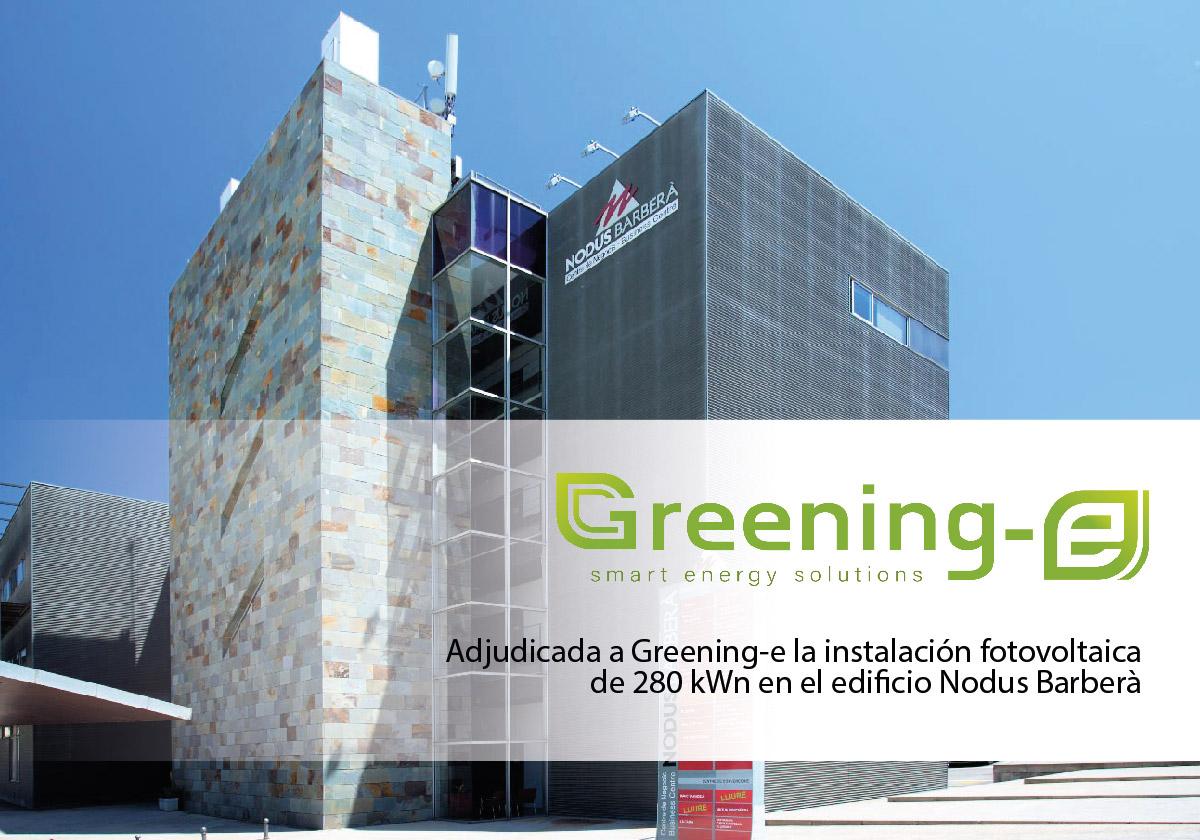 Greening-e ha sido la empresa adjudicada para la realización de una instalación fotovoltaica en Barberà del Vallès