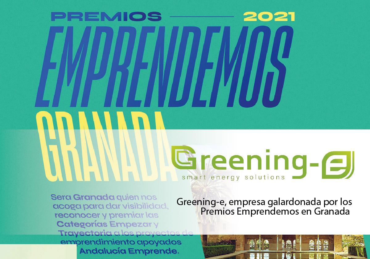 """Greening-e ha sido la empresa ganadora del Premio """"Trayectoria"""" en los Premios Emprendemos de Granada"""